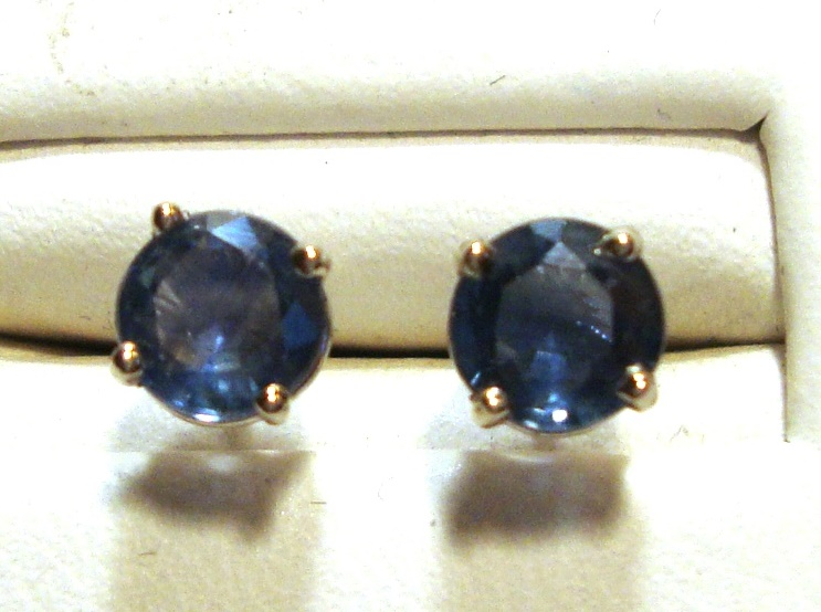 Ocean Blue Sapphire Stud Earrings 5.5mm VS Clarity 18k White Gold
