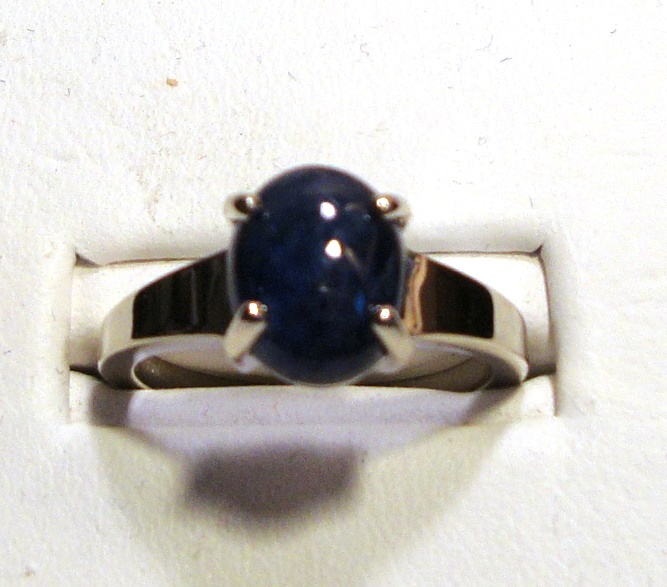 Cabochon Blue Sapphire Gold Ring 4.05ct Size 7.0