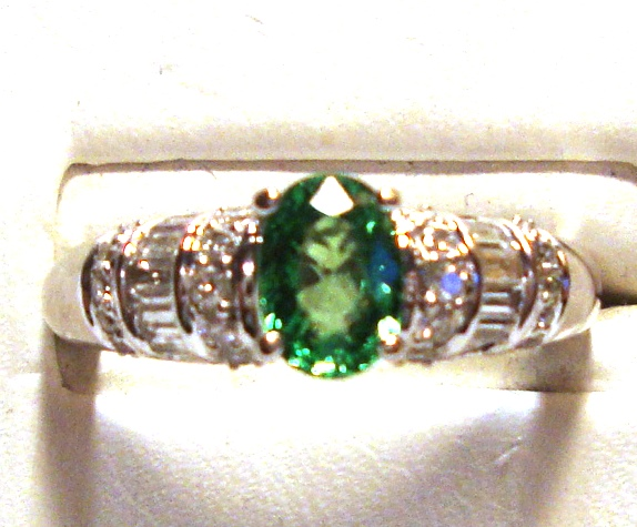 Tsavorite Garnet 14k White Gold Ring 1/2cts of Diamonds Size 7.00