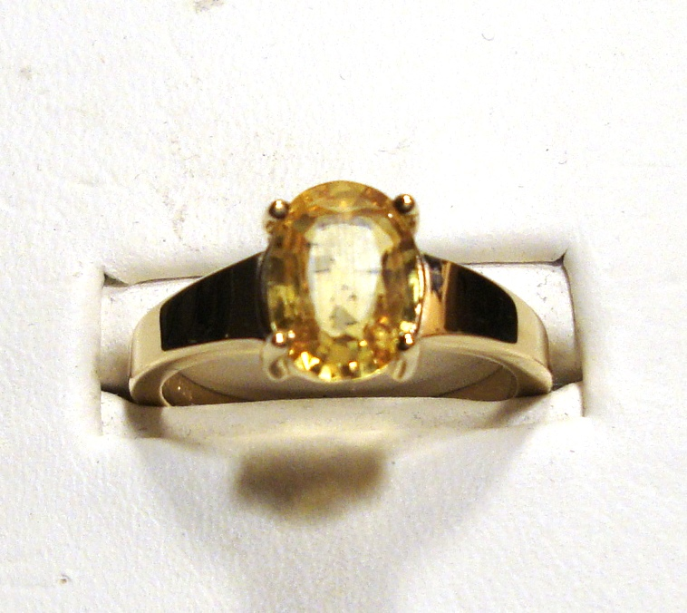 Yellow Sapphire Gold Ring 1.82ct VVS Clarity Size 7.00