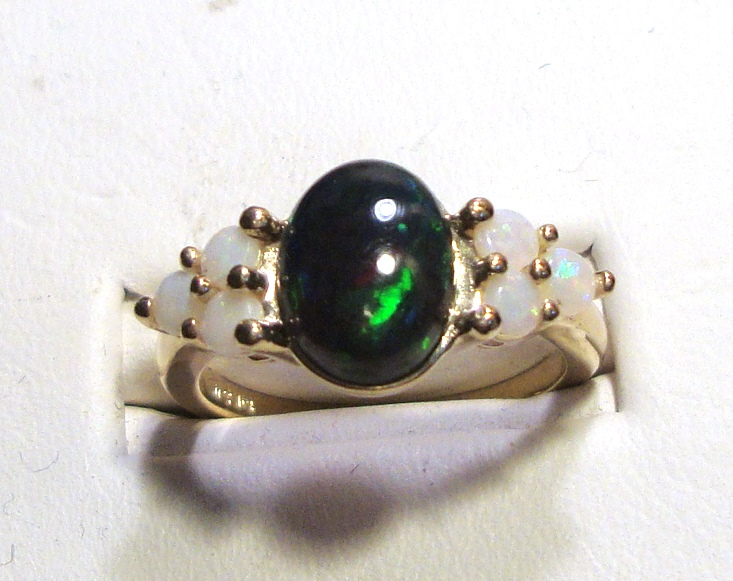 Black and White Opal Gold Ring 1.33ct 14k Yellow Gold Size 7.0