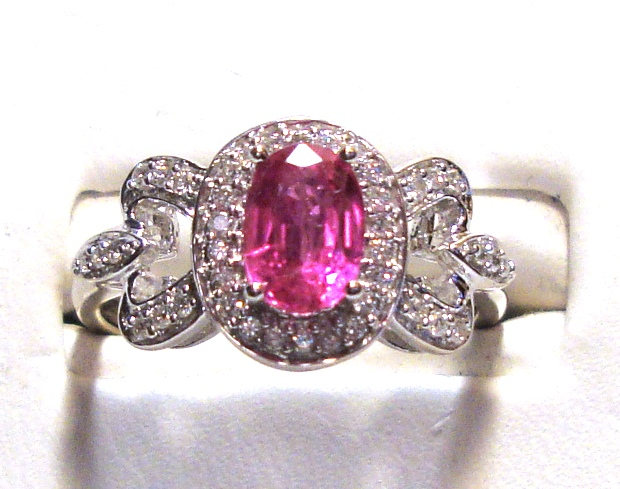 Pink Sapphire 14k White Gold Ornate Ring 1/5cts of Diamonds Size 7.00