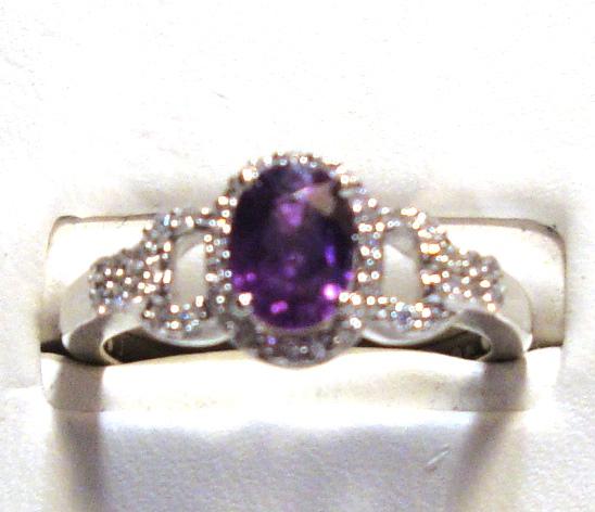 Purple Sapphire 14k White Gold Ring 1/5cts of Diamonds Size 7.00