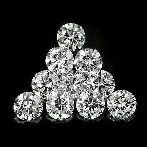 Genuine 100% Natural DIAMONDS G Color SI1 Clarity 1.3 x 1.3mm Round Diamond Cut (10)