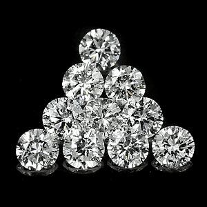Genuine 100% Natural Set DIAMONDS VS2 (10) 1.7 x 1.7mm Round Diamond Cut