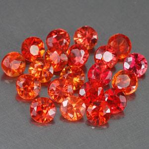 Genuine Set ORANGE & RED SAPPHIRES (20) 1.95cts 2.7 x 2.7 x 2.0mm Round