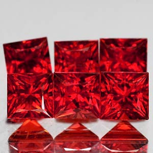 Genuine Set RED SAPPHIRES (6) .98cts 2.7 x 2.7 x 2.3mm Square Princess Cut