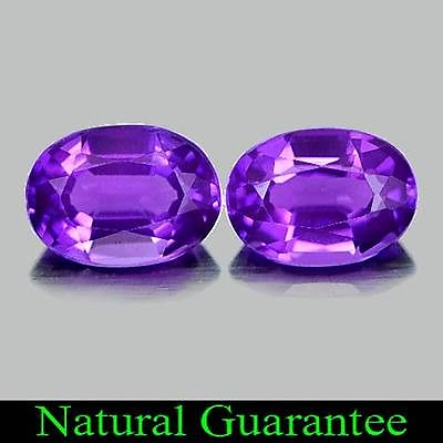 Genuine 100% Natural Amethyst 0.78ct 7.2x5.2x3.6mm (2) VVS Brazil