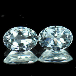 Genuine 100% Natural Aquamarine (2) .70ct 7.1 x 4.9mm Brazil VS1