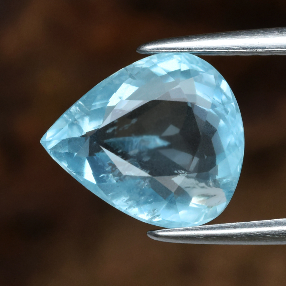Genuine 100% Natural Blue Aquamarine 1.99ct 9.2 x 8.0mm Pear SI1 Clarity