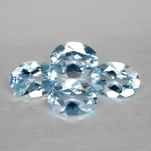 Genuine 100% Natural Blue Aquamarine (4) 0.94ct 8.0x6.0mm VVS Brazil