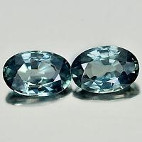 Genuine Bluish Green Sapphires 1.17ct 6.2 x 4.1mm VS1 Madagascar (Pair)