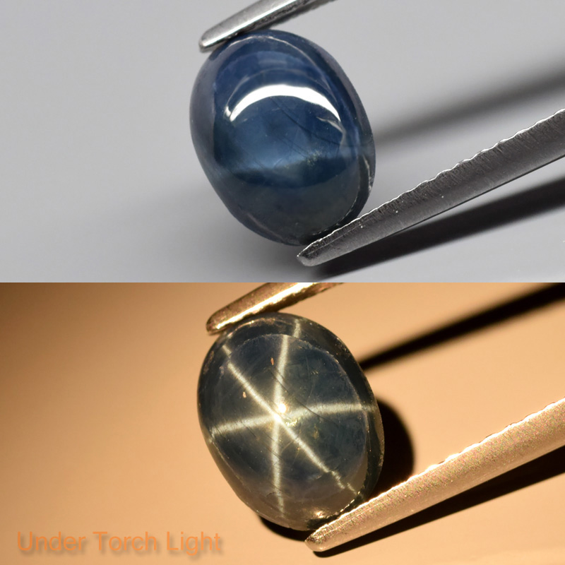 Genuine Cabochon Blue Star Sapphire 2.80ct 8.7x6.5x4.5mm Semi-Translucent Thailand