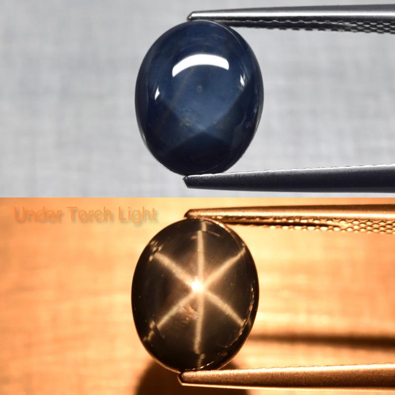 Genuine Cabochon Blue Star Sapphire 5.01ct 10.5x8.3x5.2mm Opaque Thailand