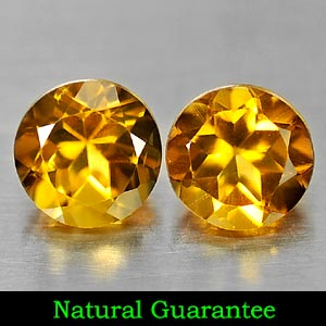 Genuine 100% Natural Citrine 2.29ct 6.9 x 6.9mm Pair Round VS1 Clarity
