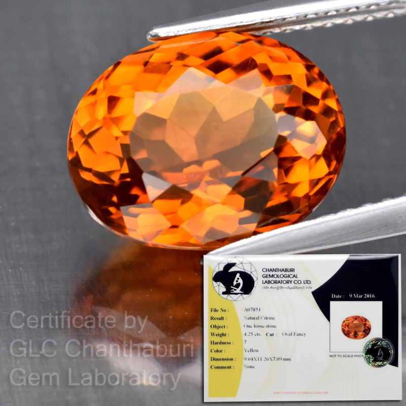 Genuine 100% Natural Citrine 4.25ct 11.26x9.04x7.09mm VS2 Brazil (Certified)