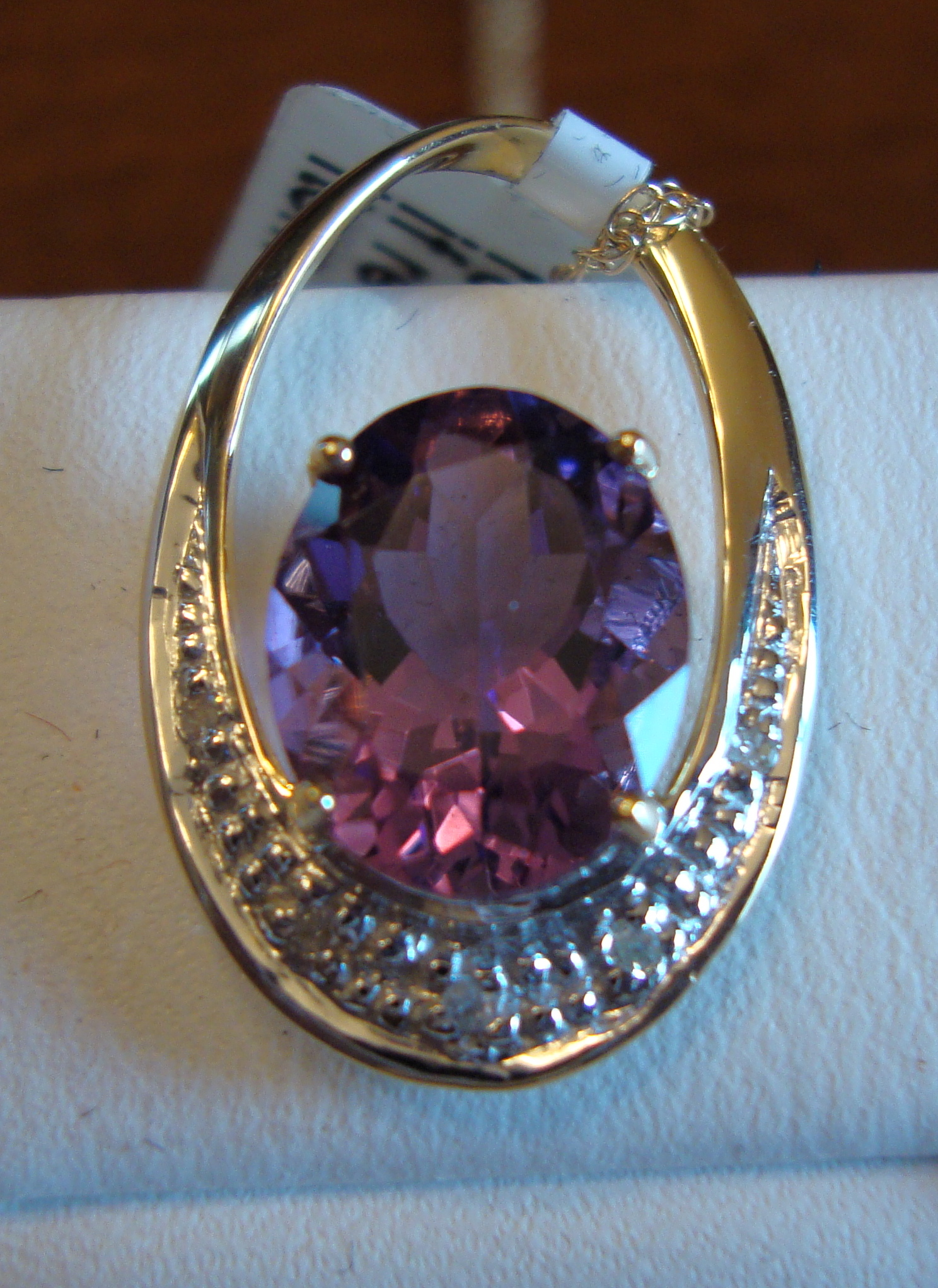 """Purple Amethyst Gold Necklace 18"""" 2.10ct 14K Yellow Gold (Certified)"""