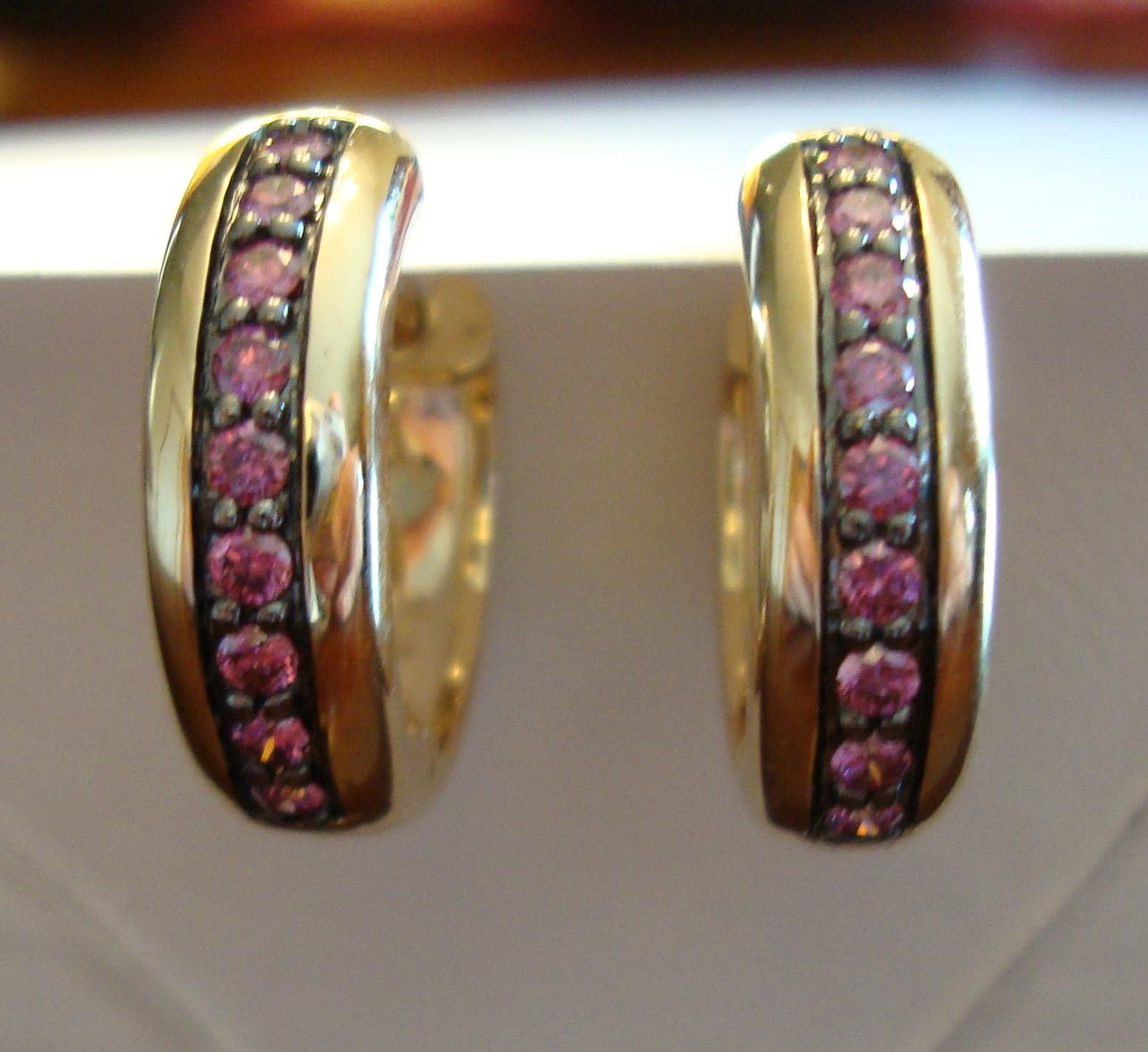 Purple Diamond Hoop Earrings 14K Yellow Gold (Certified)