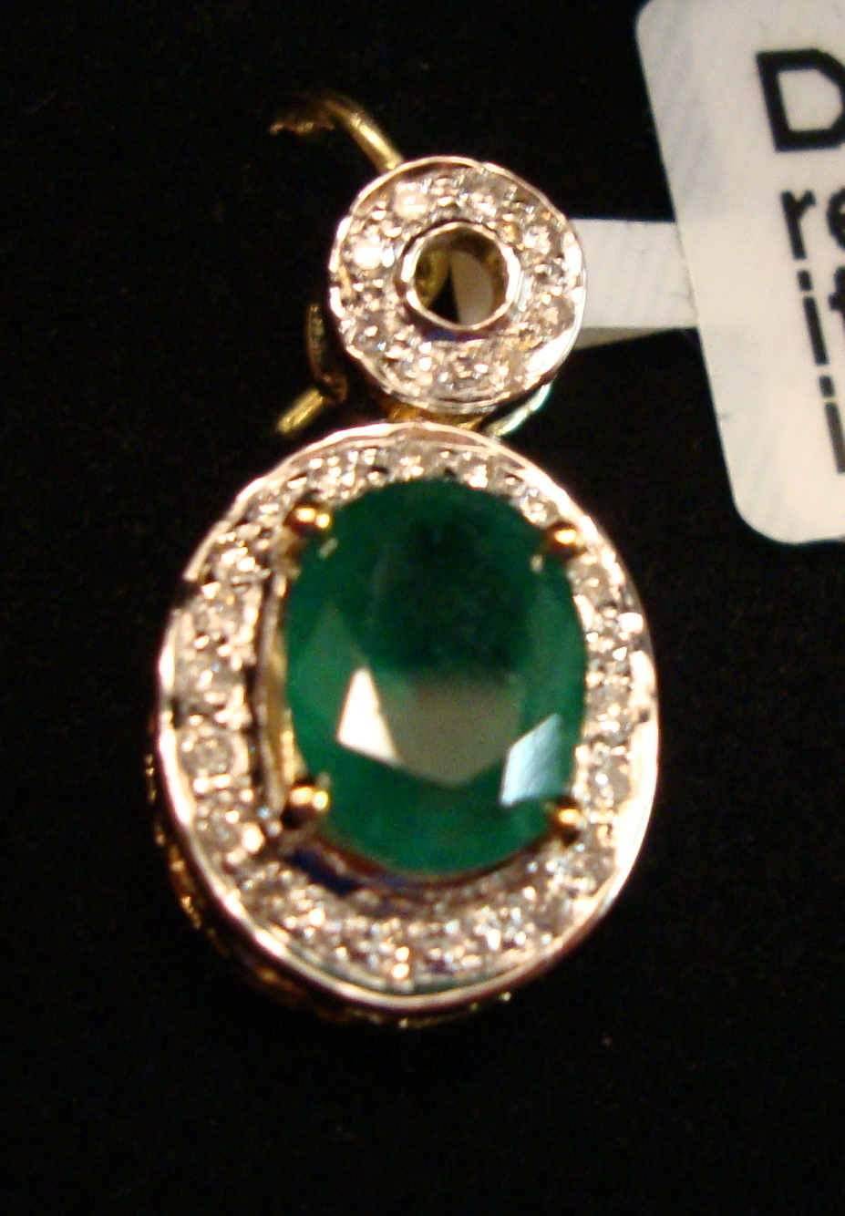 Emerald Gold Pendant 1.10ct 14K Yellow Gold (Certified)