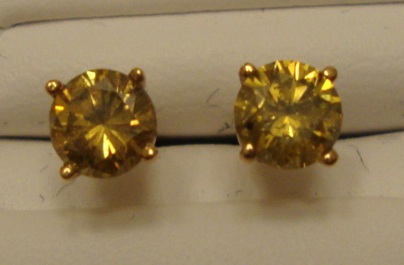 Yellow Diamond Stud Earrings .70cts 14K Yellow Gold (Certified)
