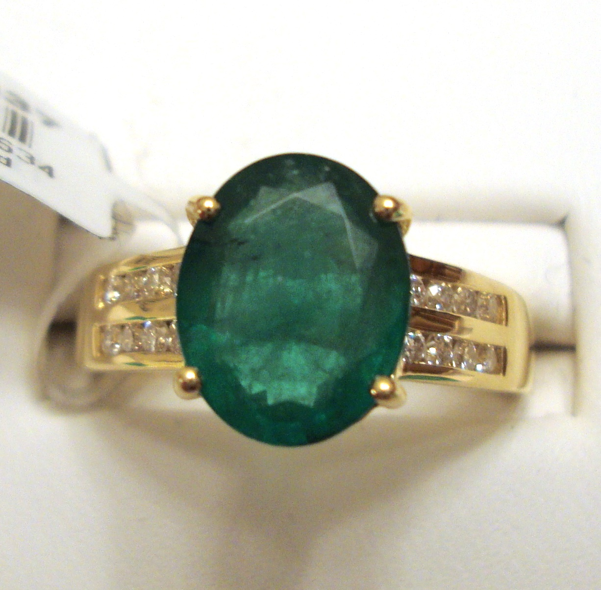 Large Emerald Gold Ring 1.92ct SI Clarity Size 7.0