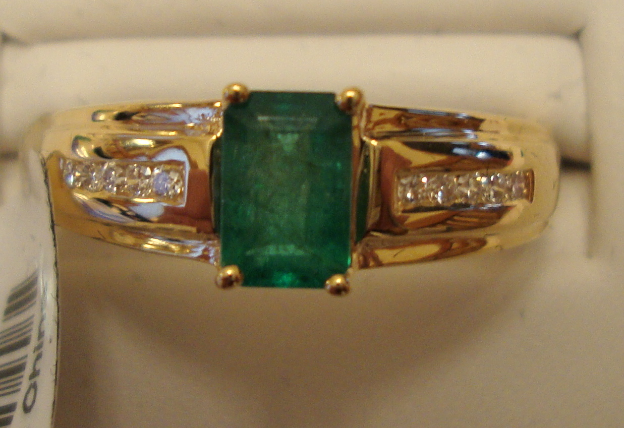 Emerald Gold Ring 0.55ct 14K Yellow Gold Size 7.0 (Certified)