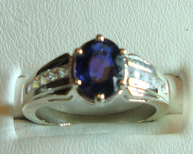Blue Sapphire Gold Ring 100% Natural 1.54ct 14K White Gold Size 6 (Certified)