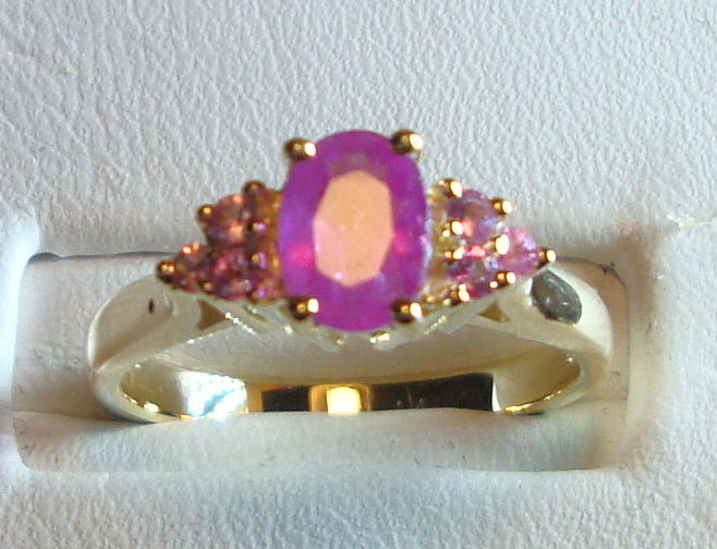 Pink Sapphire Ring 1.24ct 14K Yellow Gold Size 6.5