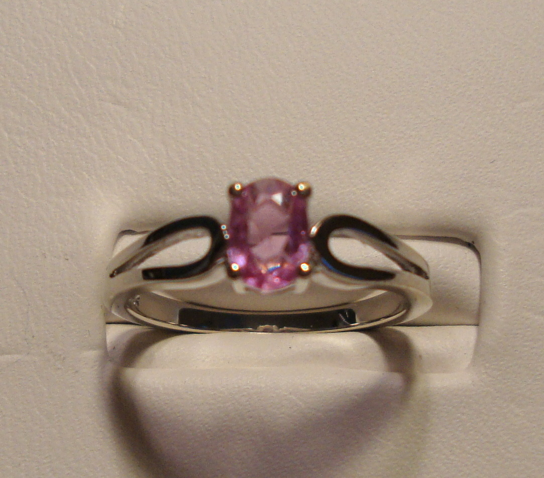 Pink Sapphire Ring 0.46ct 14K White Gold Size 6.25