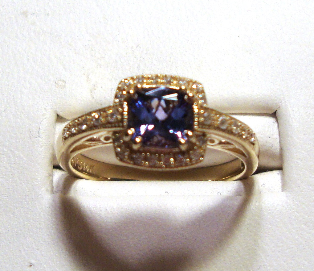 Tanzanite Gold Ring 0.76ct 14K Yellow Gold Size 7.0