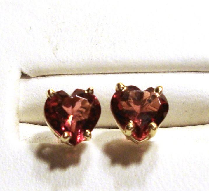 Rhodolite Garnet Heart Stud Earrings 6.0mm VVS Clarity 14k Yellow Gold
