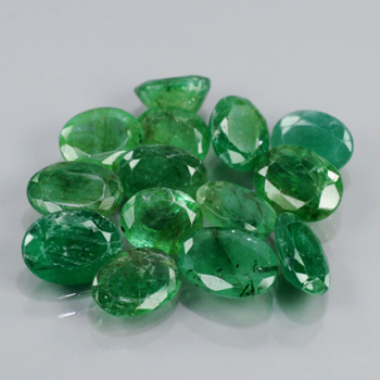 Genuine 100% Natural (14) Emeralds 8.25cts I3-I1 Pakistan 5.8x4.6, 7.0x5.1