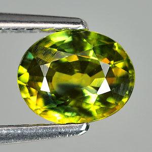Genuine GREEN & YELLOW SAPPHIRE 1.10ct 6.7 x 5.4 x 3.4mm Oval