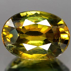 Genuine GREEN & YELLOW SAPPHIRE 1.25ct 7.6 x 5.5 x 3.5mm Oval