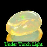Genuine 100% Natural Cabochon White Opal 1.20ct 9.1x6.6x4.1mm Semi Transparent Ethiopia