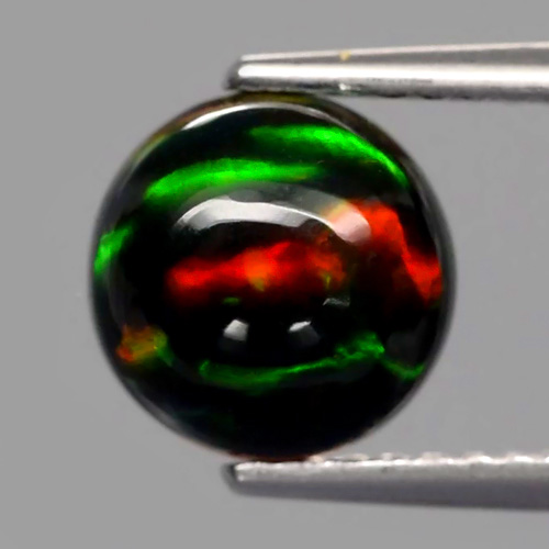 Genuine 100% Natural Cabochon Black Opal 1.32ct 8x8mm Opaque, Iridescent Ethiopia