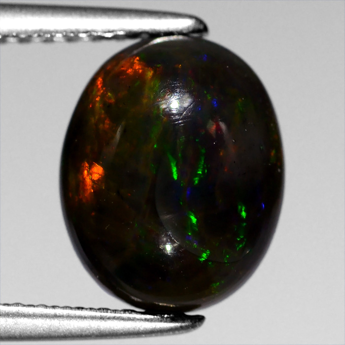 Genuine 100% Natural Cabochon Black Opal 1.68ct 10x8mm Irridescent Ethiopa