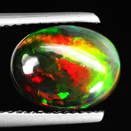 Genuine 100% Natural Cabochon Rainbow Fire Red Black Opal 2.20ct 10.6x8.2x5.2mm Semi-Transparent Ethiopia