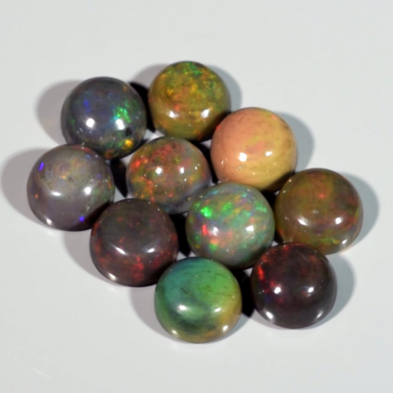 Genuine Set of 10 Crystal Welo Cabochon Black Opal 6.00ct 5.8 to 6.0mm Round Ethiopia