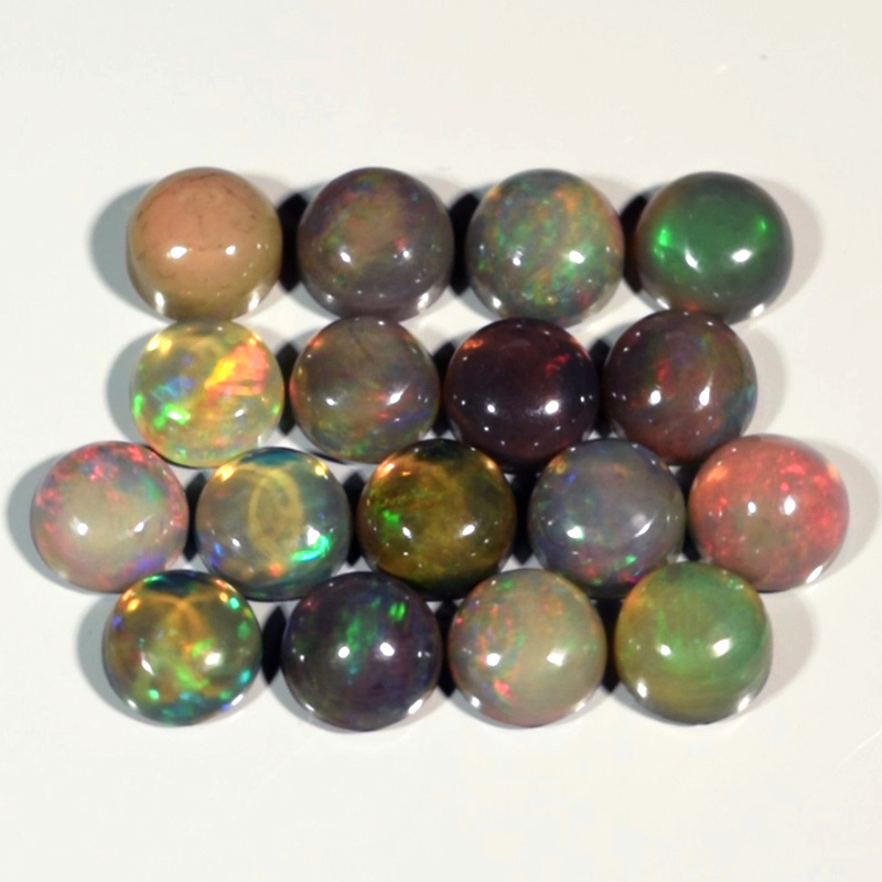 Genuine Set of 17 Crystal Welo Cabochon Black Opal 6.00ct 4.8 to 5.0mm Round