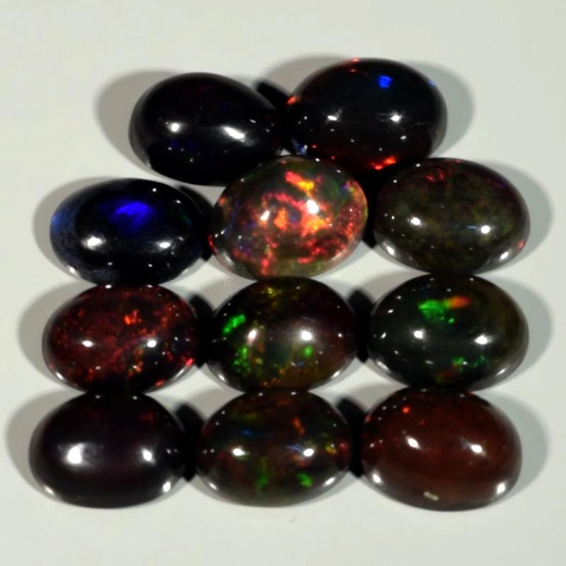 Genuine Set of 11 Crystal Welo Cabochon Black Opal 6.02ct 7.0 x 5.0mm Oval Ethiopia