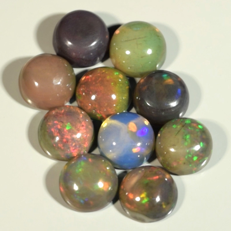Genuine Set of 10 Crystal Welo Cabochon Black Opal 6.02ct 5.8 to 6.0mm Round