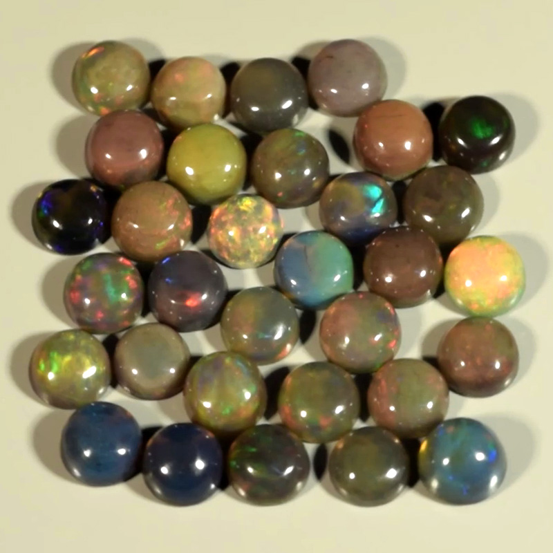 Genuine Set of 32 Crystal Welo Cabochon Black Opal 6.03ct 3.5 to 4.0mm Round