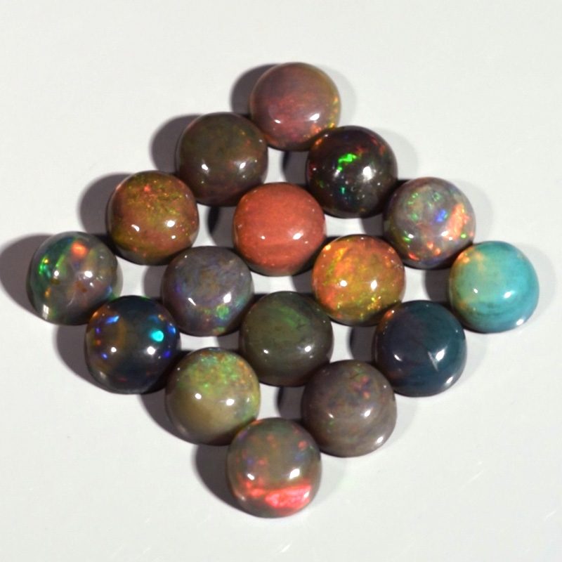 Genuine Set of 16 Crystal Welo Cabochon Opal Black 6.04ct 4.8 to 5.0mm Round