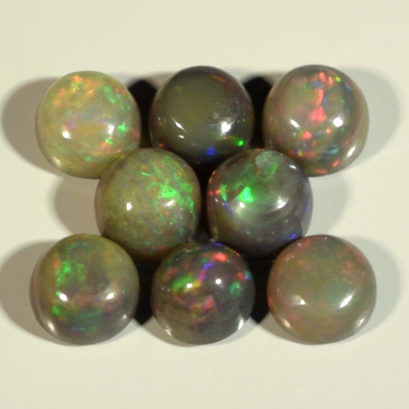 Genuine Set of 8 Crystal Welo Cabochon Black Opal 6.04ct 5.8 to 6.0mm Round