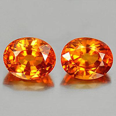 Genuine Orange Sapphires 0.57ct 5.2x4.2x3.2mm VS1 Tanzania