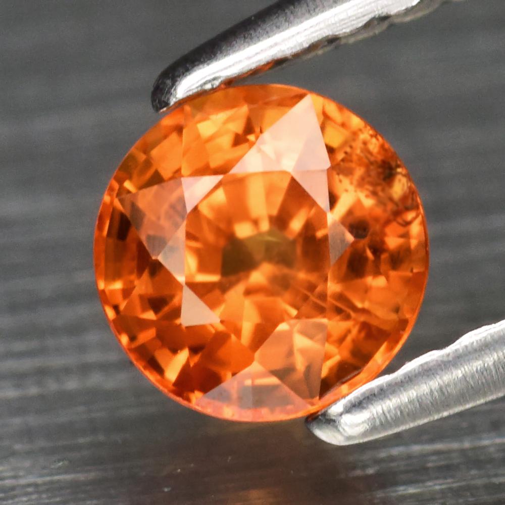 Genuine Orange Sapphire .68ct 5.0 x 5.0mm Round Cut SI1 Clarity