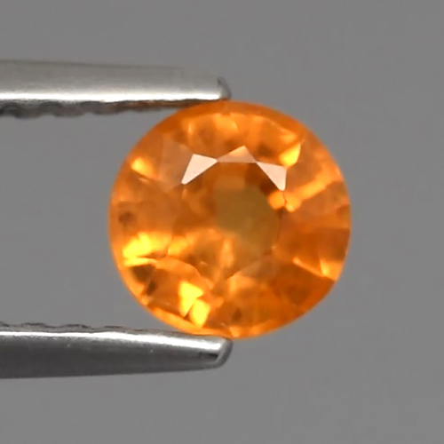 Genuine ORANGE SAPPHIRE .78ct 5.0 x 5.0mm Round SI1 Clarity