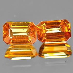 Genuine Orange Sapphire .50ct 5.6 x 3.8mm Octagon VVS Clarity