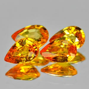 Genuine Yellow Sapphire .50ct 5.9 x 4.0mm Pear VVS Clarity (Set of 4)